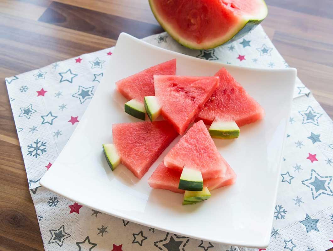 gesundes weihnachtsdessert mit melone