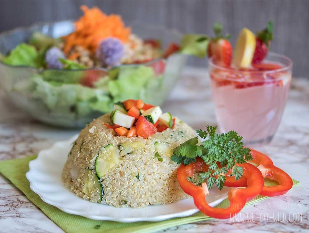 fitness men quinoa rezept mit gem se salat infused water. Black Bedroom Furniture Sets. Home Design Ideas