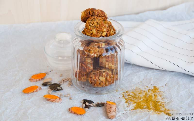 vegane, zuckerfreie und glutenfreie Kurkuma Kekse