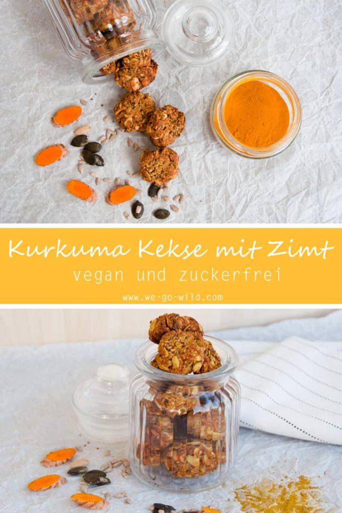 Vegane Kurkuma Kekse ohne Zucker mit Zimt