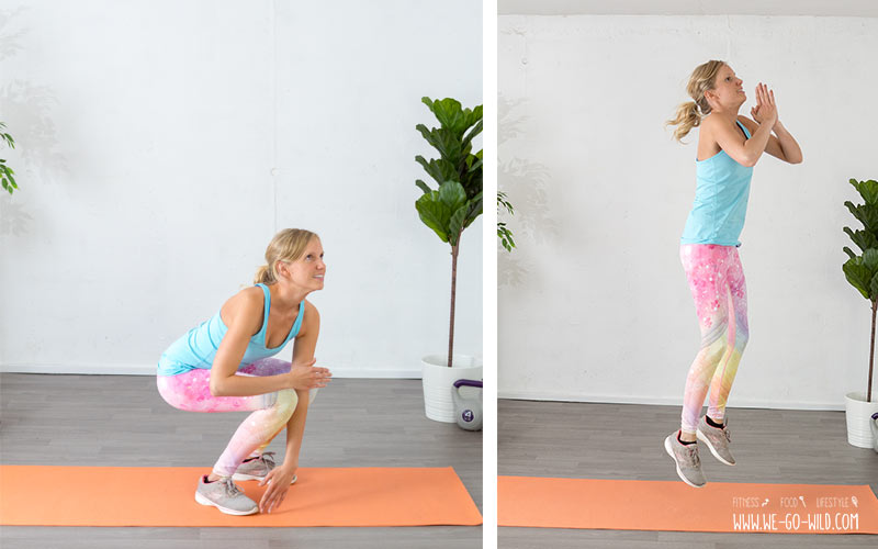 Beintraining zuhause: Squat mit Zehenberühren und Sprung